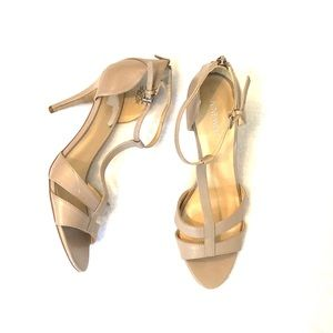 [Nine West] Nude Leather Strappy Heels - Size 10